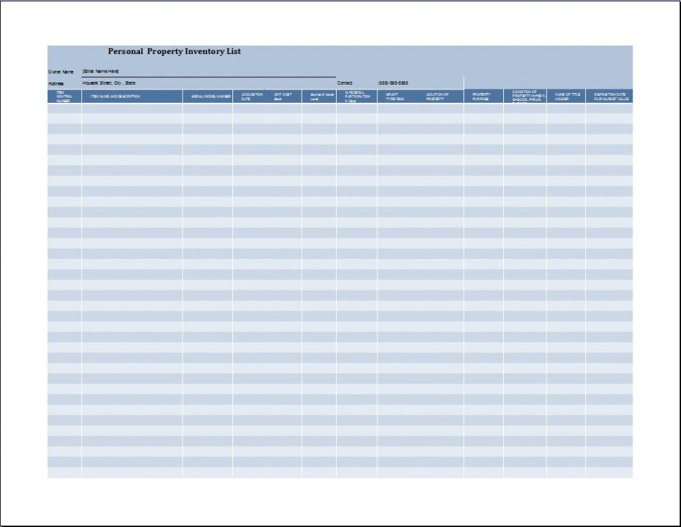 costum property inventory list template word sample