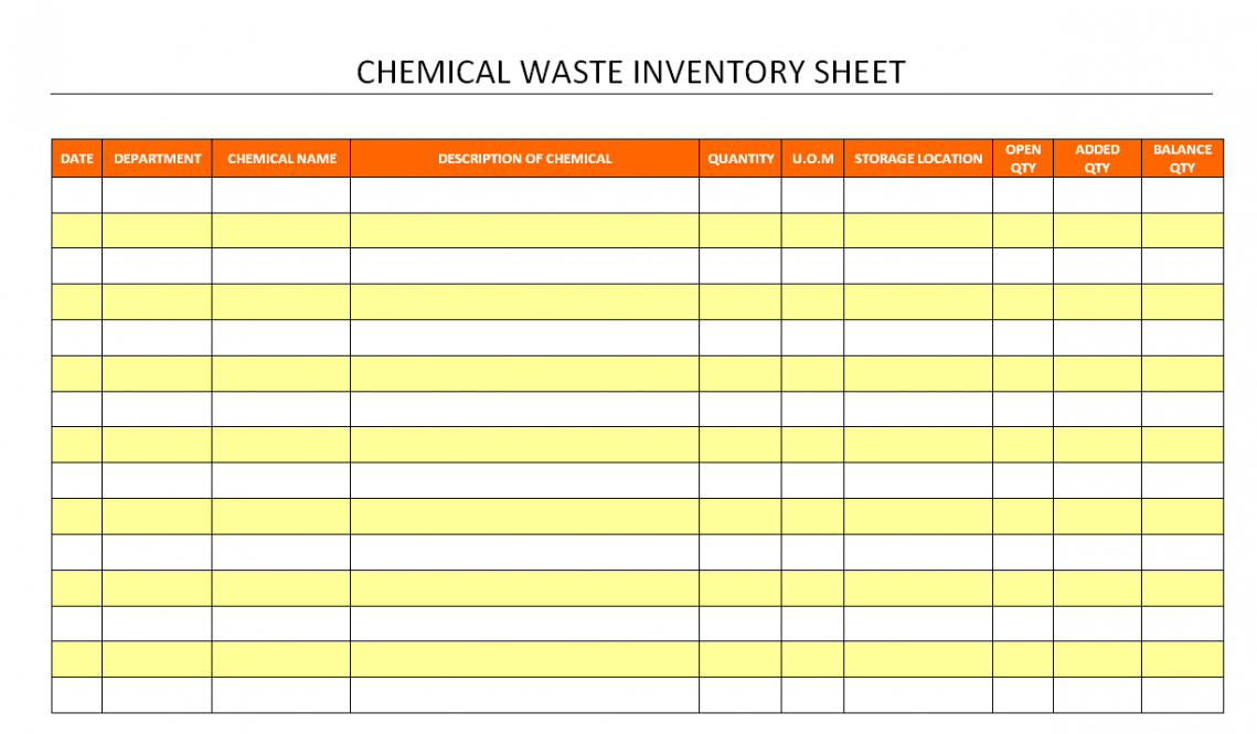 editable chemical inventory spreadsheet template word