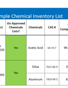 free chemical inventory spreadsheet template word
