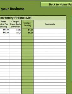 free food service inventory template  example