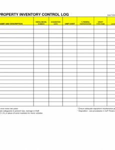 free inventory control log template word example