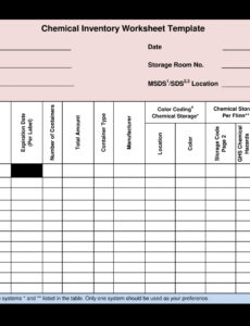 professional chemical inventory spreadsheet template  sample