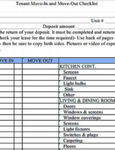 Best Moving Inventory List Template  Sample