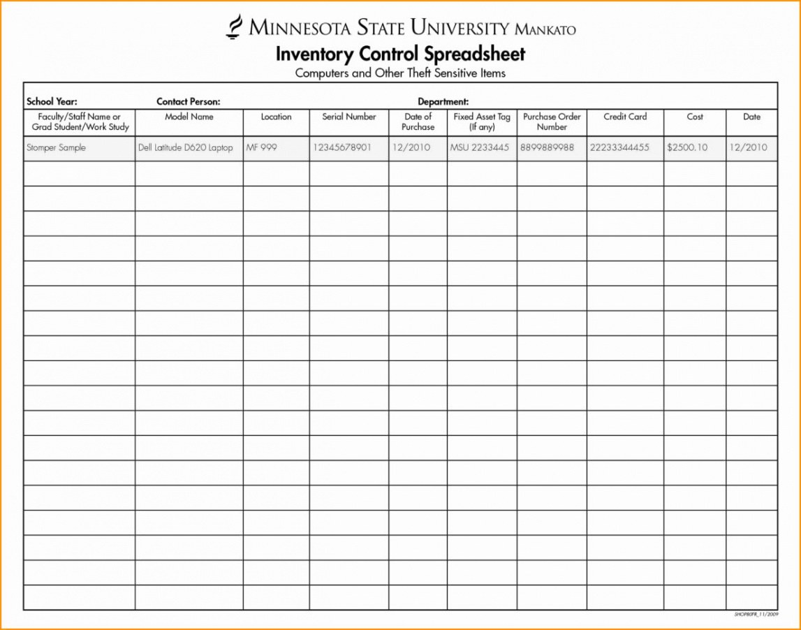 Free Product Inventory Spreadsheet Template Word Sample