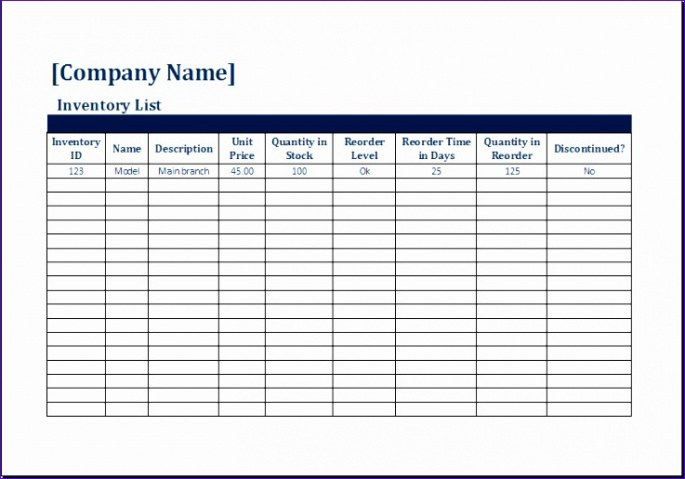 Inventory Request Form Template Word Example