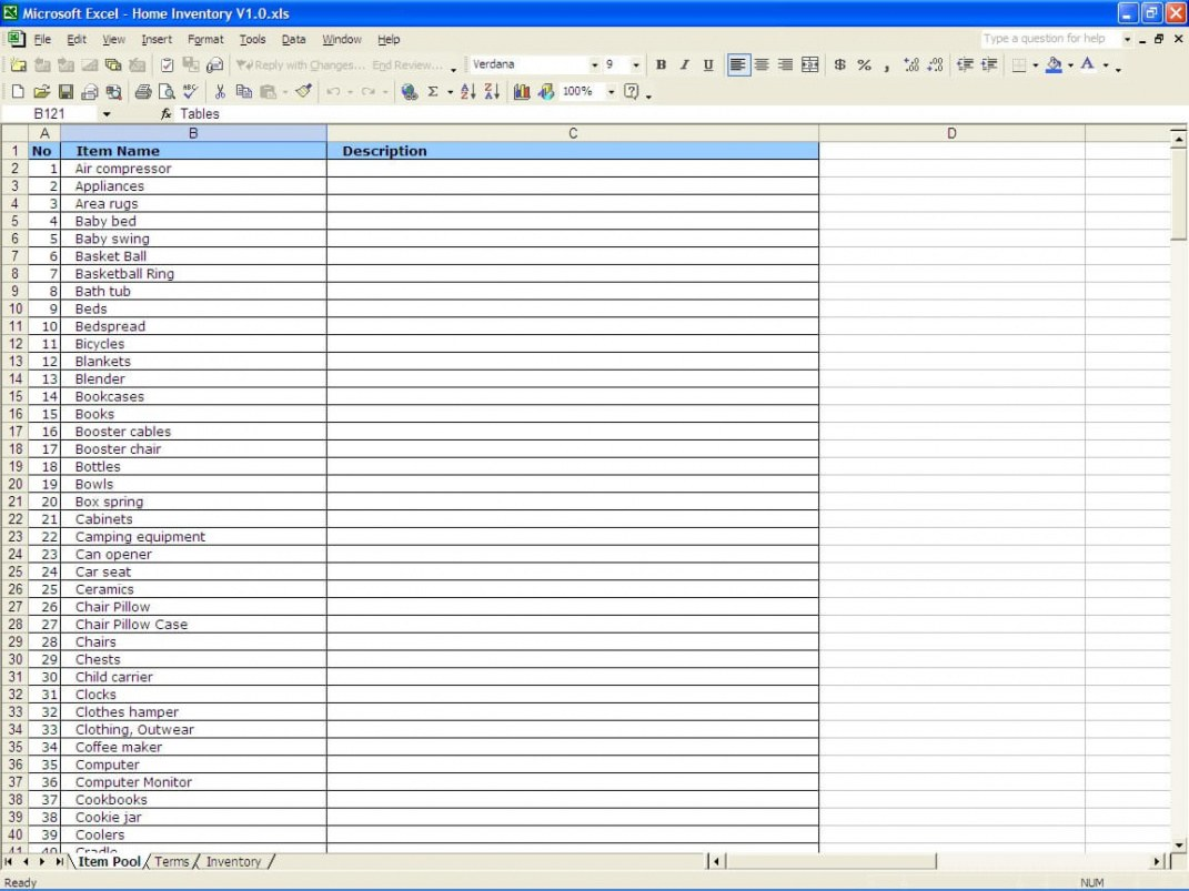Professional Household Inventory List Template Excel Example