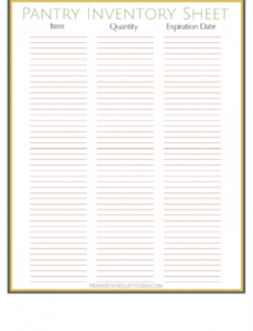 Costum Pantry Inventory List Template Excel Sample