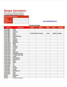Costum Personal Property Inventory List Template  Sample