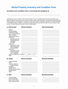 Editable Personal Property Inventory Template Doc Example