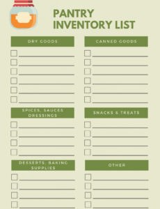 Freezer Inventory Template Word Sample