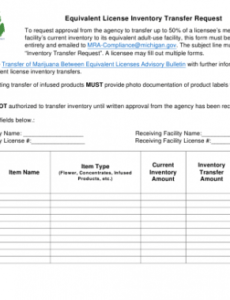 Inventory Transfer Form Template Excel Example