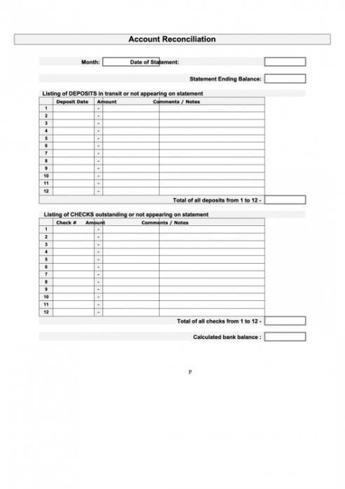Professional Inventory Reconciliation Template Doc Example