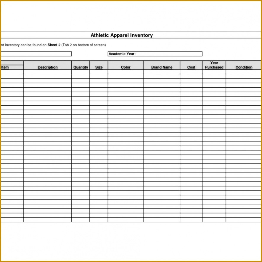 Sports Equipment Inventory Template Doc Sample