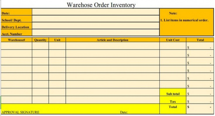 Warehouse Inventory Template Doc Sample