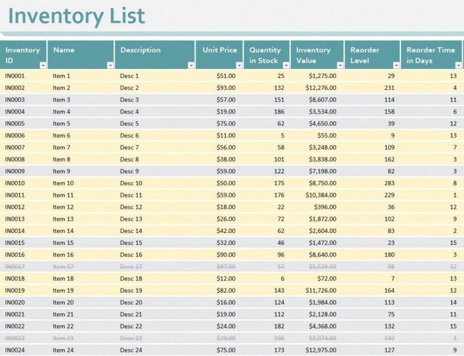 Personal Financial Inventory Template Word Sample