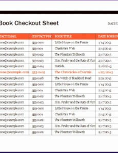 Printable Library Book Inventory Template Doc Example