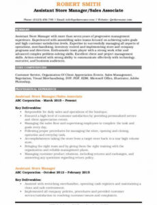 Customizable Retail Assistant Manager Resume Sample Word