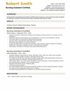 Editable Certified Nursing Assistant Resume Sample With Experience Doc