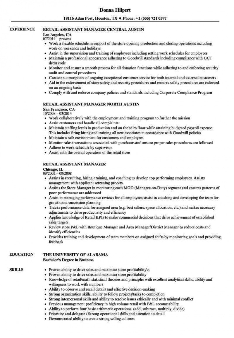 Free Editable Retail Assistant Manager Resume Sample Pdf