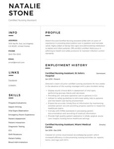 Professional Customizable Certified Nursing Assistant Resume Sample With Experience Word