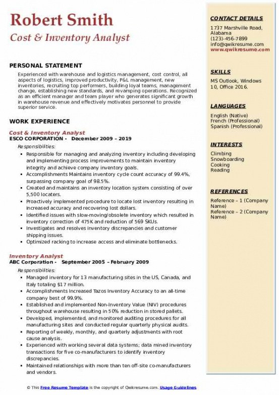 Professional Customizable Revenue Cycle Analyst Resume Sample Doc