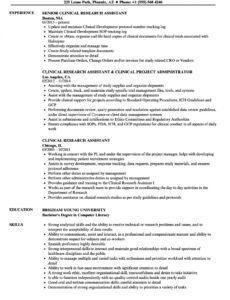 Professional Editable Clinical Research Coordinator Resume Sample Word
