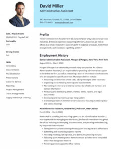 Professional Editable Resume Sample For Administrative Assistant Position Excel