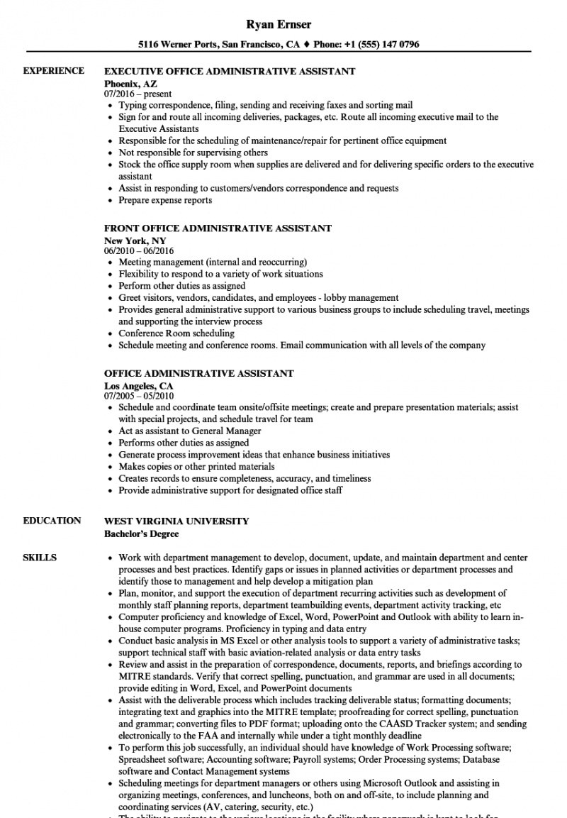 Professional Online Resume Sample For Administrative Assistant Position