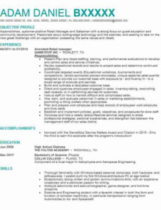 Professional Online Retail Assistant Manager Resume Sample Word