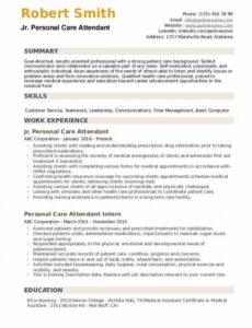 Professional  Personal Care Assistant Resume Sample Doc