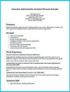 Professional Printable Resume Sample For Administrative Assistant Position Excel