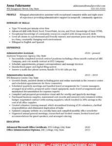 Professional  Resume Sample For Administrative Assistant Position Word
