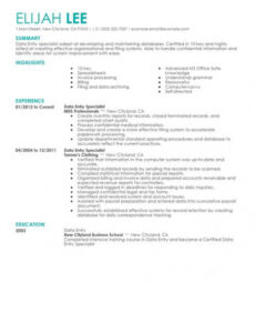 Free Costum Data Entry Resume Sample With No Experience