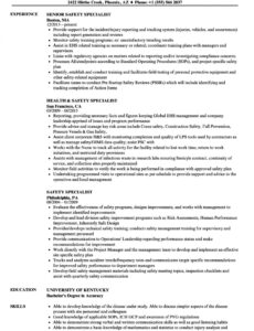 Health And Safety Officer Resume Sample Pdf