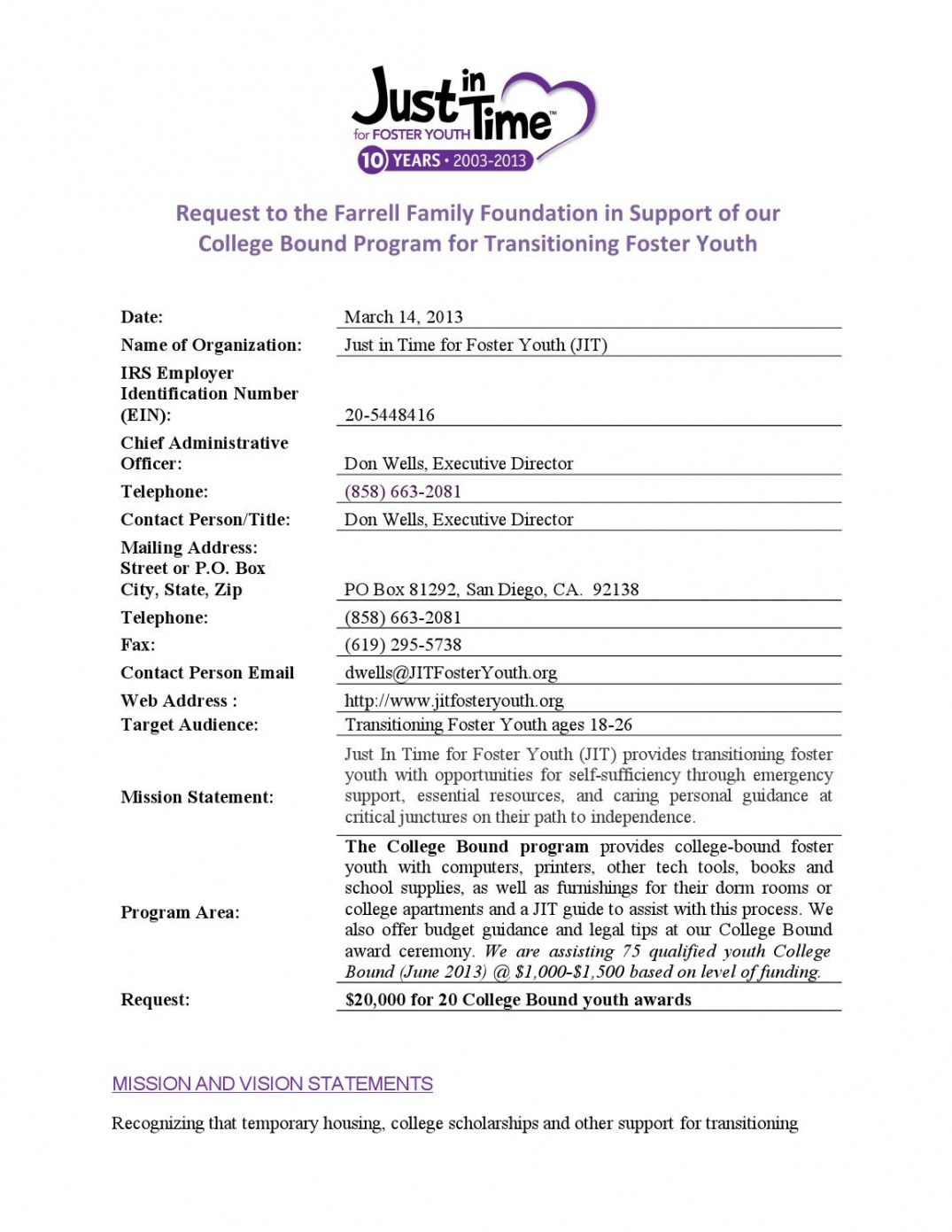 Professional Youth Program Proposal Template Word Sample