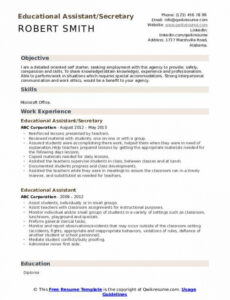 Free Editable Instructional Assistant Resume Sample