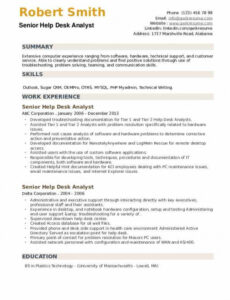 Free Editable It Help Desk Support Analyst Sample Resume Excel