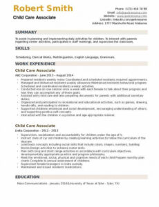 Free Online Child Care Assistant Resume Sample