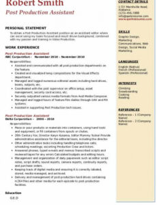 Free Printable Film Production Assistant Resume Sample Word