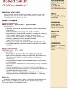 Printable Child Care Assistant Resume Sample