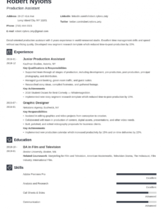 Professional Customizable Film Production Assistant Resume Sample Word