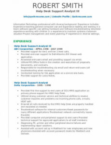 Professional Online It Help Desk Support Analyst Sample Resume Word