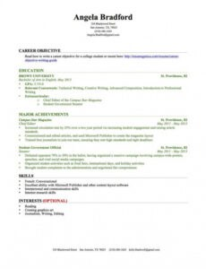 Costum Resume Without Work Experience Sample Excel