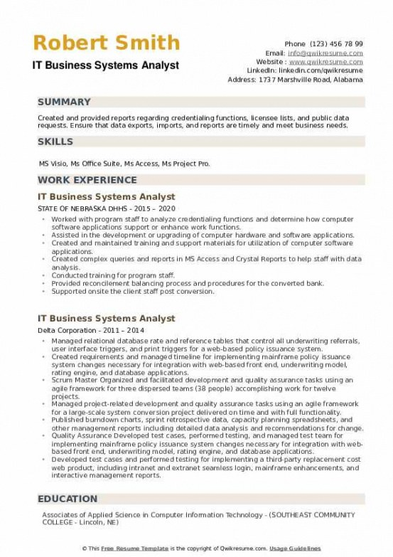 Free  Business Systems Analyst Resume Sample
