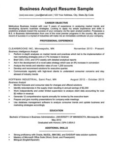 Online Banking Business Analyst Resume Sample Excel